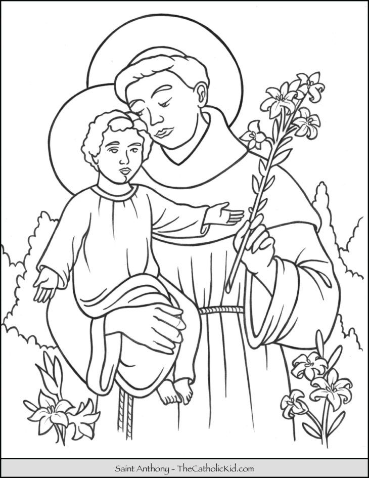 Saint Anthony Coloring Page Thecatholickid Com Jesus Coloring