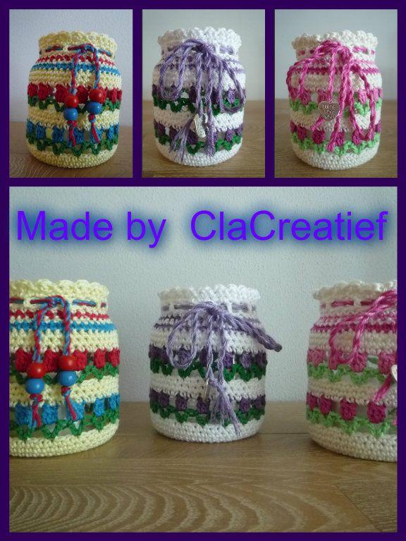 Made by ©Clacreatief; Tulpenvaasjes gehaakt in verschillende kleuren. Patroon van Ellebel