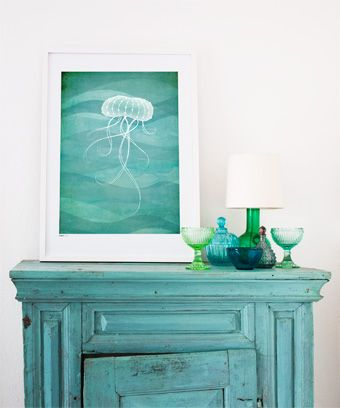 Smaragd art print from Formstigen2a.se.  Emerald. Poster inspired by the ocean.