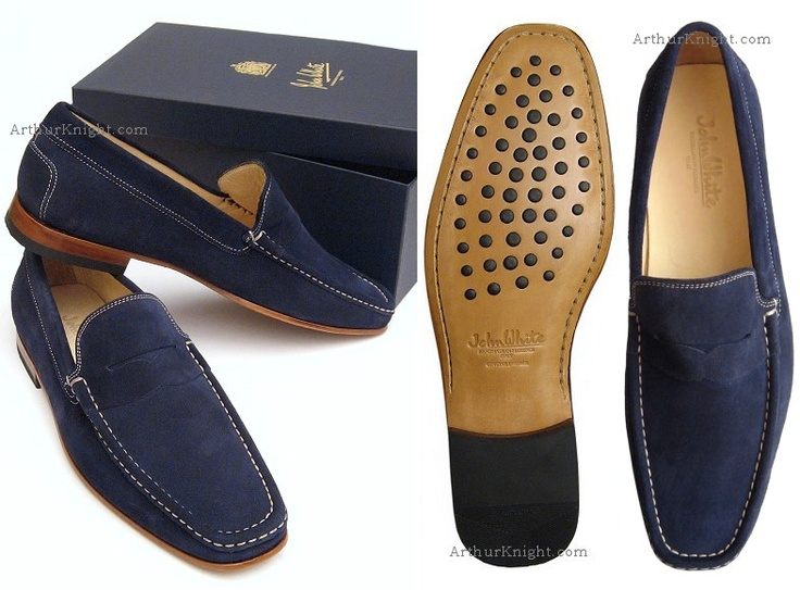 Blue Suede Shoes Mens Loafers John White UK