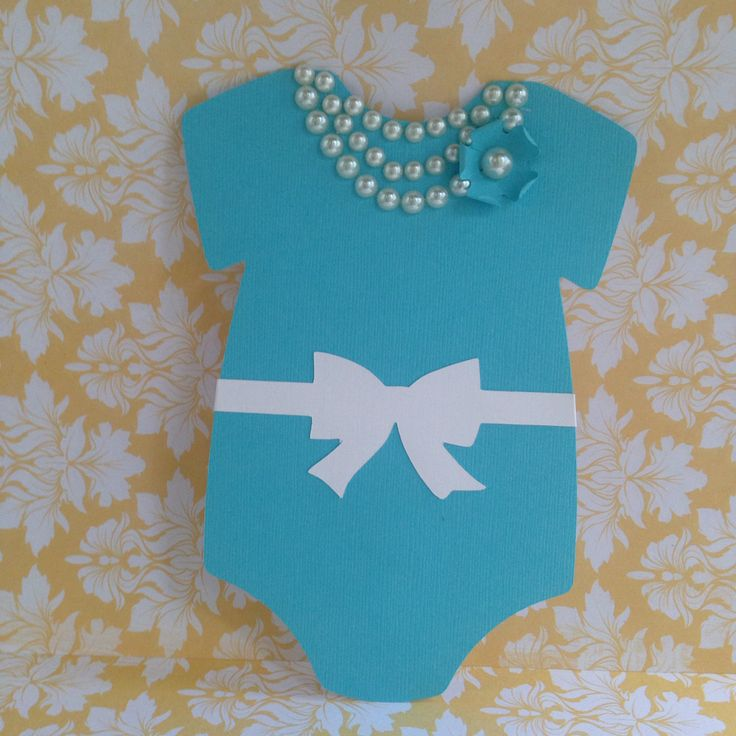 Tiffany inspired onesie with pearl necklace, flower and tiffany inspired bow.