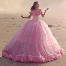 Розовый Бальное платье Цветы Свадебные Платья С Длинным Шлейфом Тюль с Плеча Принцессы Винтаж Свадебное Платье Vestido Де Novia 2016(China (Mainland))