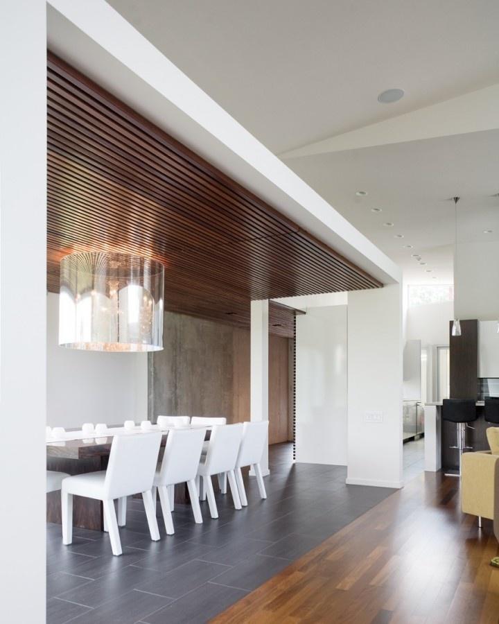 White dining room with dark ceramic tile flooring and floating wood slated-ceiling.Bent Slic, Ceilings Details, Modern Dining Room, Interiors Design, Tile Floors, Hufft Projects, Wood Ceilings, Wood Slat, Slat Ceilings