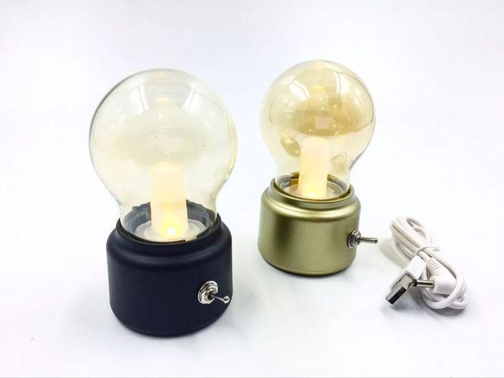 velador lampara recargable foco led vintage regalos aka