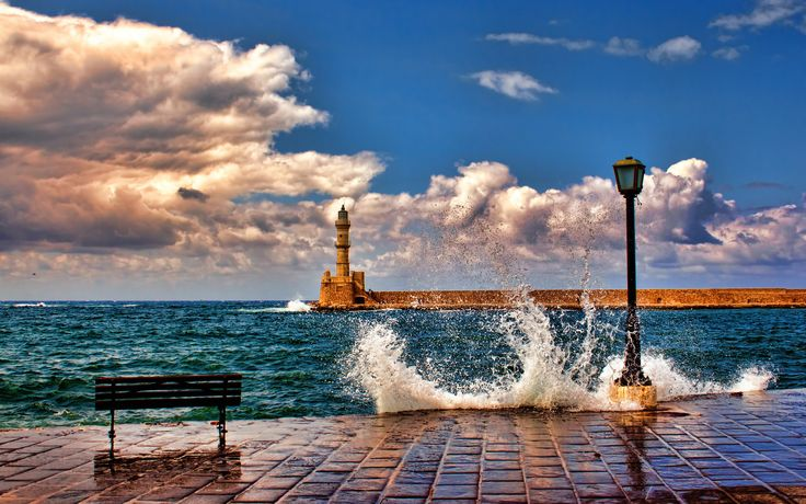 Lighthouse, Architecture, Beautiful, Bench, Clouds, Crete, Greece