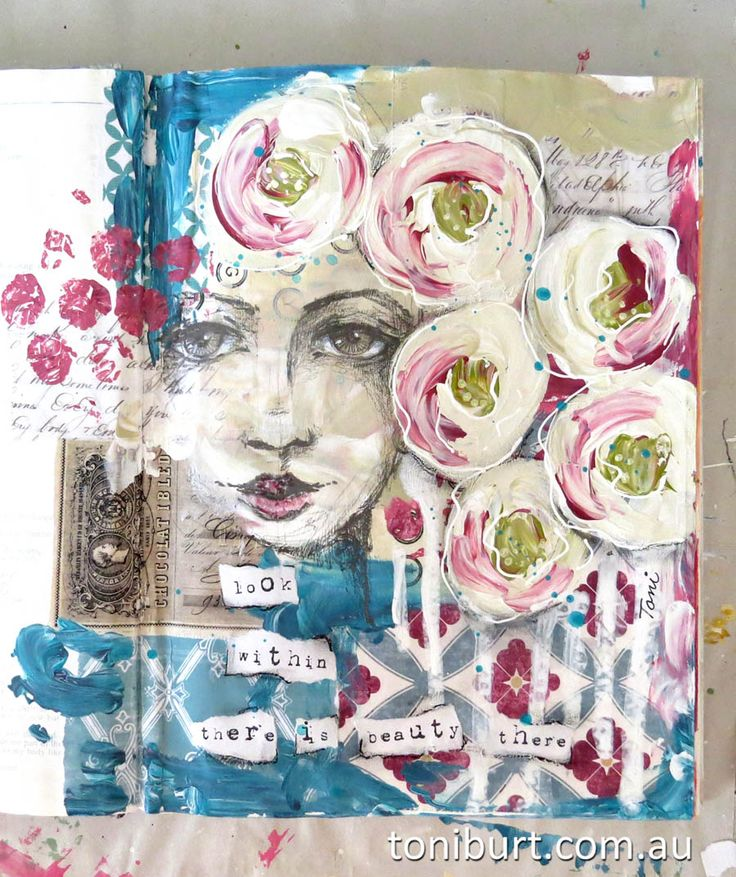 """""""look within there is beauty there""""  art journal spread, mixed media acrylics and sketching."""
