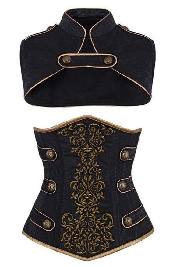 Camellias Women's Steel Boned Tamra Velvet Steampunk Corset, SZ2018-Black-L