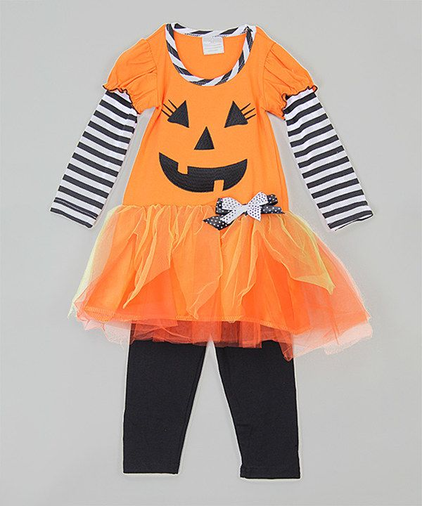 Look at this Orange Jack-o'-Lantern Dress & Leggings - Infant, Toddler & Girls on #zulily today!