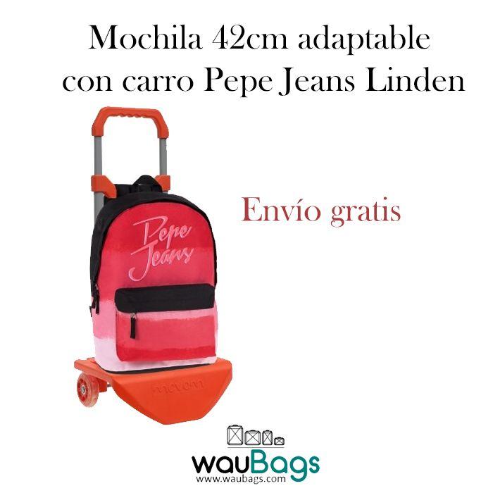 Consigue la Mochila de 42cm Pepe Jeans Linden adaptable con carro, por tan solo 54,50€!!  Con un compartimento principal con cierre de cremallera, un bolsillo delantero y salida de audio en el lateral.  @waubags #pepejeans #mochila #carro #adaptable #escolar