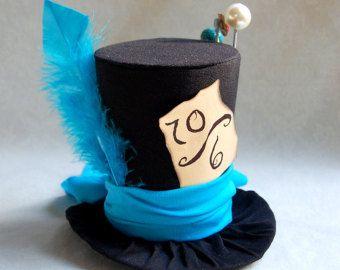 Petit chapeau haut de forme : Le Chapelier fou bleu - Lolita Cosplay Costume Party Fascinator Photo photographie Prop Tophat petit Mini Miniature de mariage