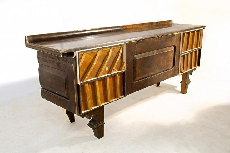 """""""Caligari Cabinet"""" made from upcycled piano parts"""