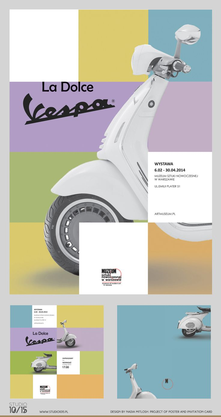 "Design by Nadia Mitlosh. Studio 10/15. Poster and invitation card for an exhibition ""La Dolce Vespa"" about Vespa and Italian history as a background. Student work."