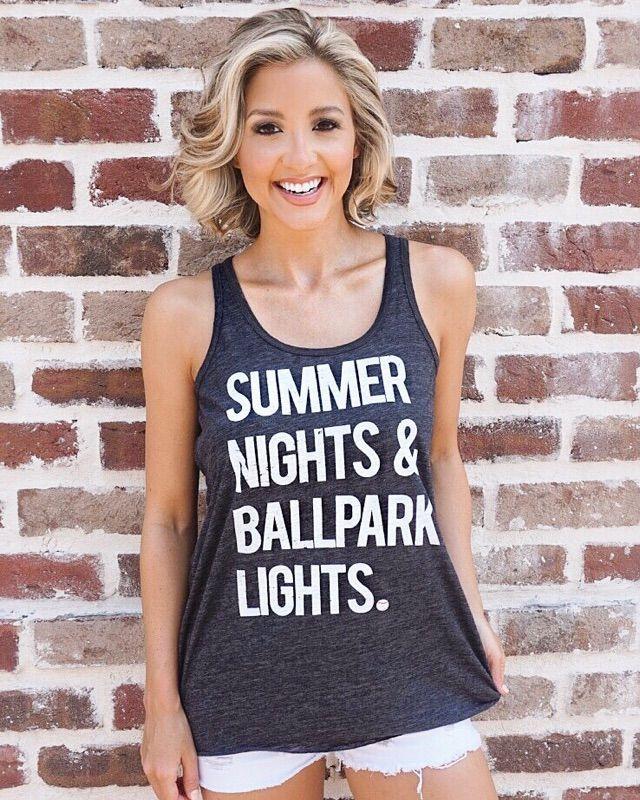 Medium: Baseball – Summer Nights & Ballpark Lights – Charcoal Flowy Tank | Live Love Gameday