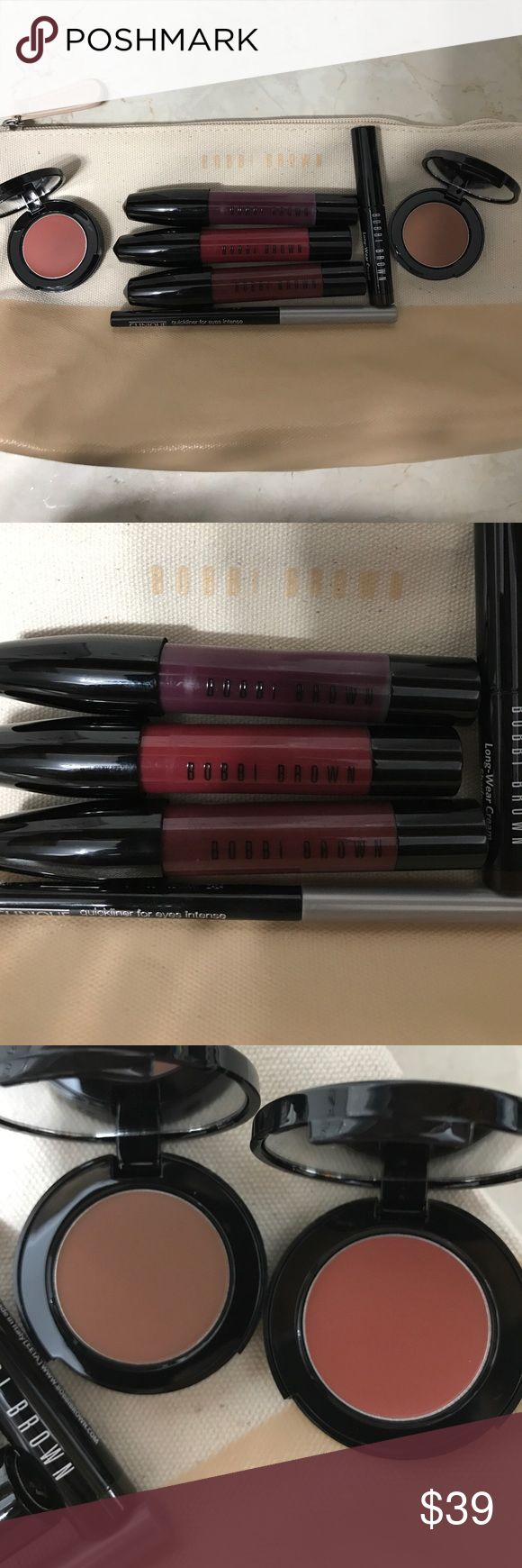 FOUR FULL SIZE Bobbi Brown Art Stick Liquid Lip Four full size, no box, all new, Boysenberry and Plum Noir had a bit of color squeeze out when I was holding for photo. Eyeshadow stick, Pot Rouge and Bronzer are deluxe travel size, and so is the Clinique Eyeliner. Bobbi Brown Makeup Lipstick