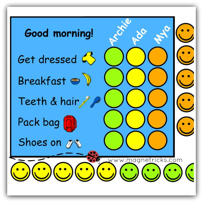Morning routine with stars magnetic chart