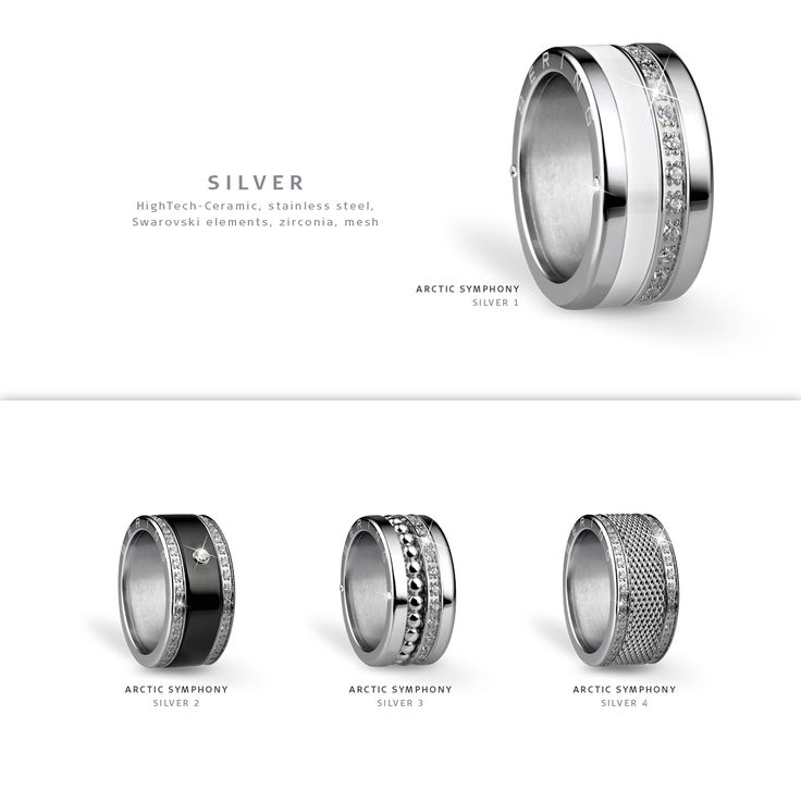 Silver rings; Arctic Symphony Collection; BERING jewellery; Twist & Change System