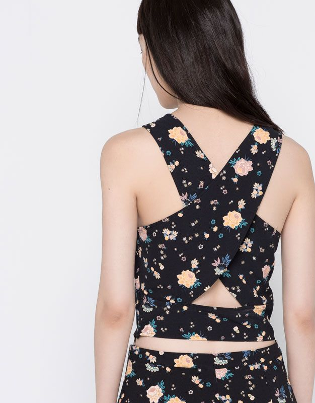 CROSSED BACK PRINTED TOP - BLOUSES & SHIRTS - WOMAN - PULL&BEAR Mexico