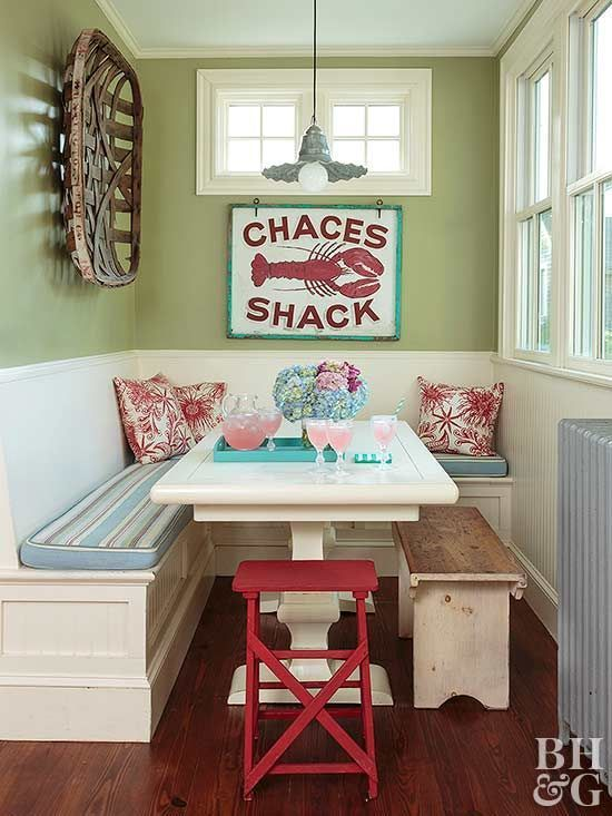 Nooks and crannies sure are cute in small homes, but what do you do with them? Introduce restaurant-style seating to an eat-in kitchen with a built-in booth. A movable bench and chair allow for easy clean-up.