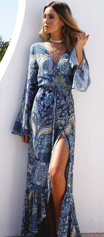 3570905fc9 Boho Summer maxi long Dress with print. Women fashion. Bohemian ...