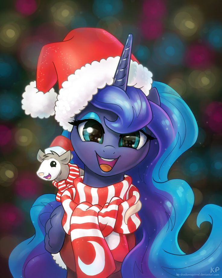 Happy Holidays and a Happy New Year by KP-ShadowSquirrel.deviantart.com on @deviantART if you didn't know that Princess Luna had a pet possum named Tibbles? You aren't reading the IDW My Little Pony comic books enough. Try them, they're great!