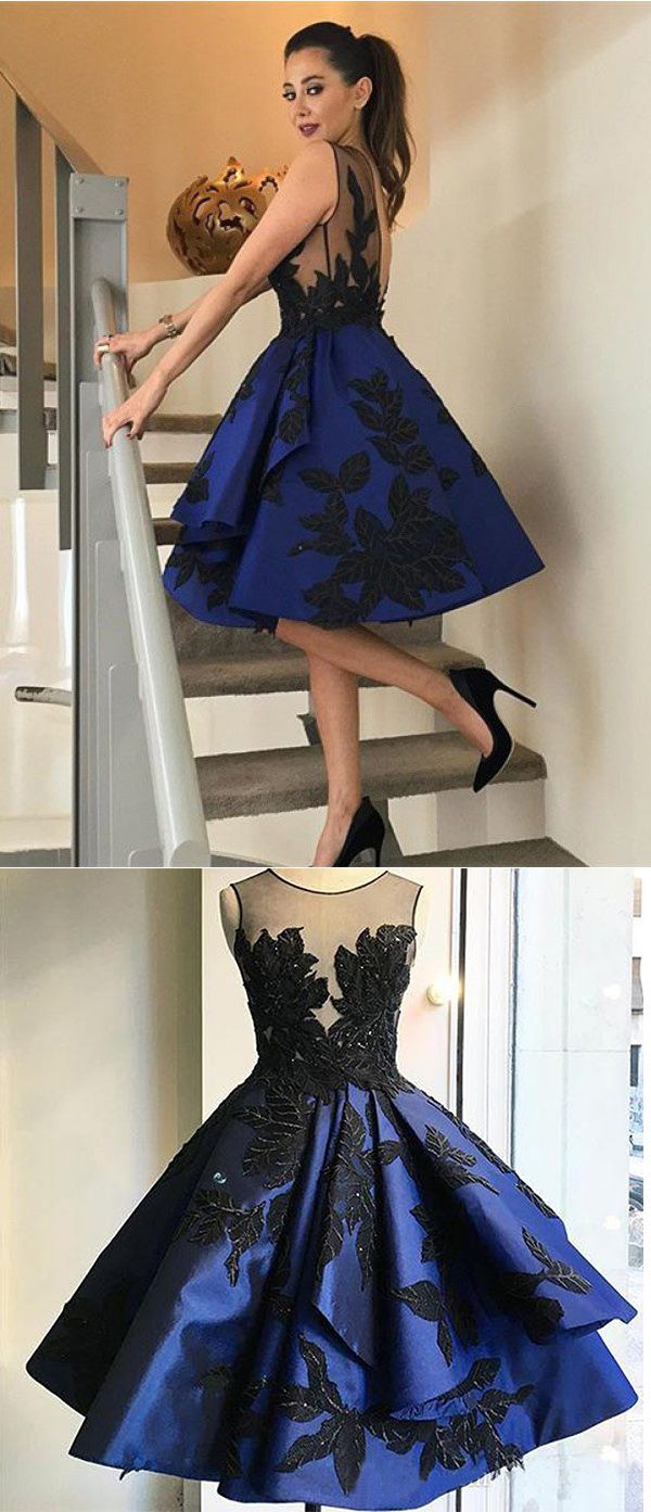 Elegant Homecoming Dresses,Open Back Homecoming Dress, Royal Blue Homecoming Dresses with Black Applique,Short Homecoming Dresses,Women Cocktail Dress