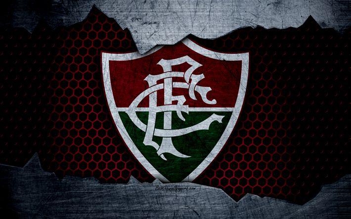 壁紙をダウンロードする Fluminense, 4k, エクストリーム-ゾー, ロゴ, グランジ, ブラジル, サッカー, サッカークラブ, 金属の質感, 美術, Fluminense FC