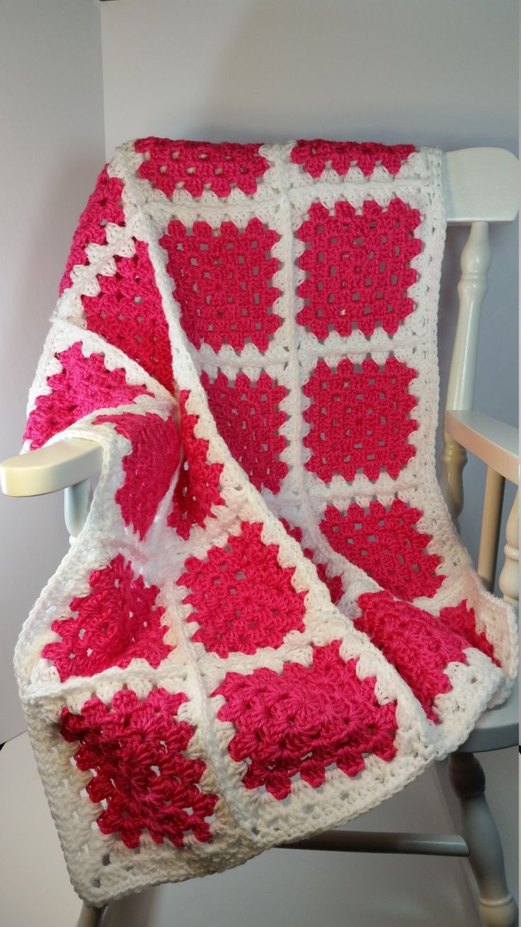 Crochet Baby Blanket Hot Pink White Granny Square Stroller Size Car Seat Cover…