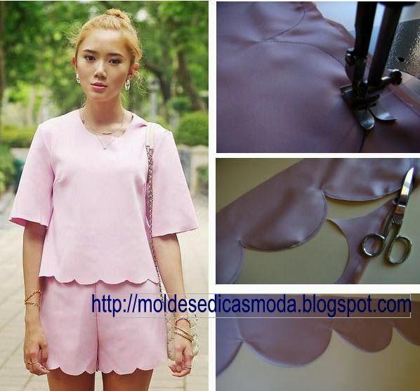 PASSO A PASSO BAINHA EM SEMI-CIRCULO Nesta publicação o objectivo é mostrar como se faz o acabamento de peças de vestuário em pequenos semi-ciculos. Estes