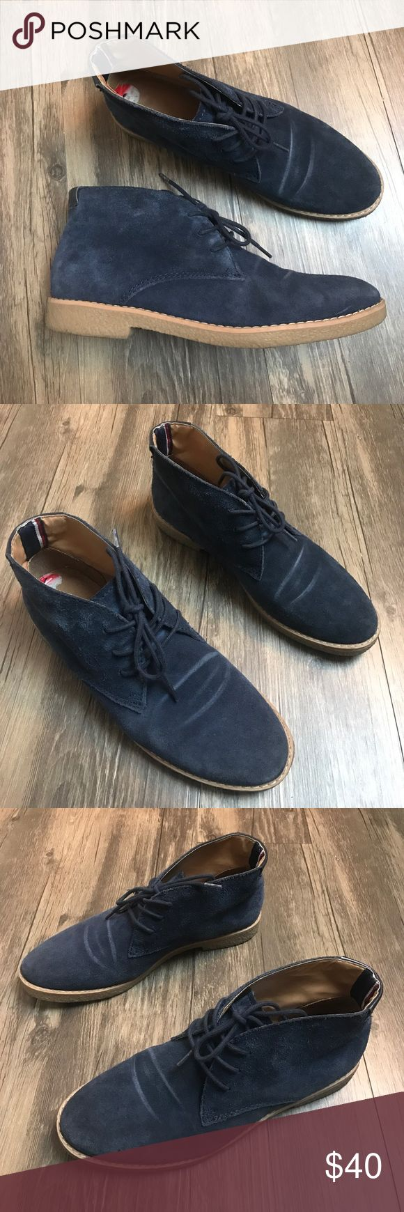 Tommy Hilfiger Blue Suede Leather Chukka Boots 6M Tommy Hilfiger size 6 M blue suede leather chukka crepe sole ankle boots. Please note creasing across top of foot. Tommy Hilfiger Shoes Ankle Boots & Booties
