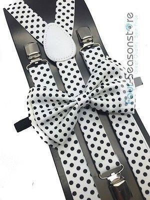 Black w// White Polka Dot Bow Tie And Suspender Matching Set Tuxedo Wedding Party
