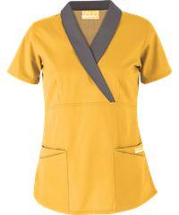Butter-Soft Scrubs by UA Shawl Collar Mock Wrap Top, Style #  UA686C #curvyfigures, #goldsilkwithgreystone, #nurses, #uniformadvantage