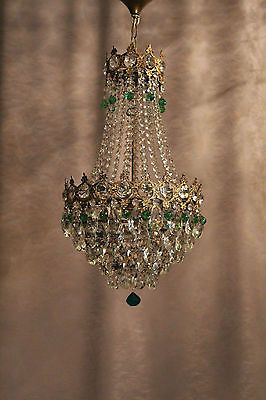 Vintage Antique Crystal 1930´s Old Basket Chandelier French Luster Kronleuchter