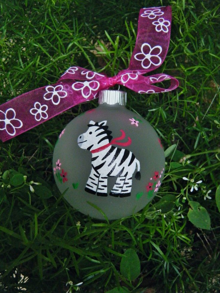 Zebra Ornament - Personalized for Birthday or Christmas - Hand Painted Glass Bauble, Zebra Birthday, Zoo Animal, Zebra Print, Zebra Decor by BrushStrokeOrnaments on Etsy https://www.etsy.com/listing/71716583/zebra-ornament-personalized-for-birthday