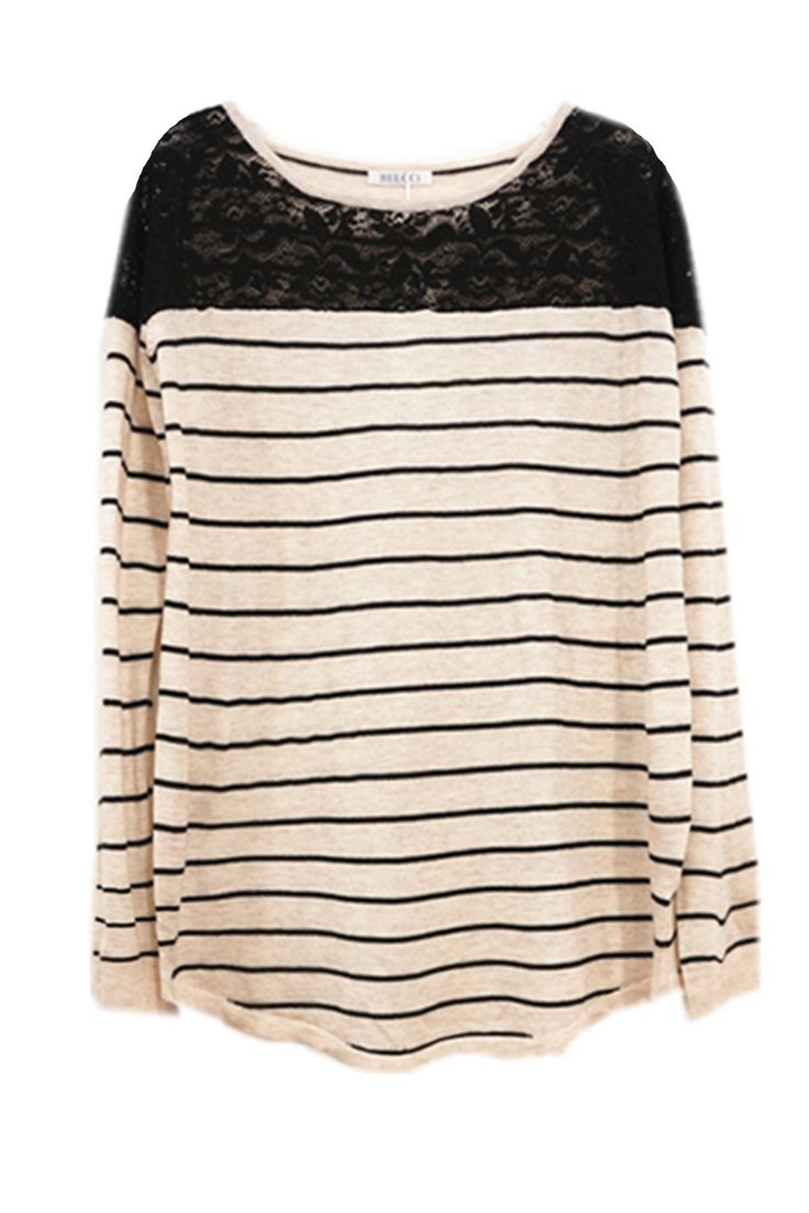 Black Lace Beige & Black soft striped jumper