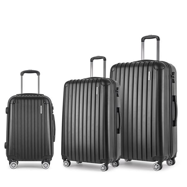 Set of 3 Hard Shell Travel Luggage with TSA Lock - Black – Click Online Sales