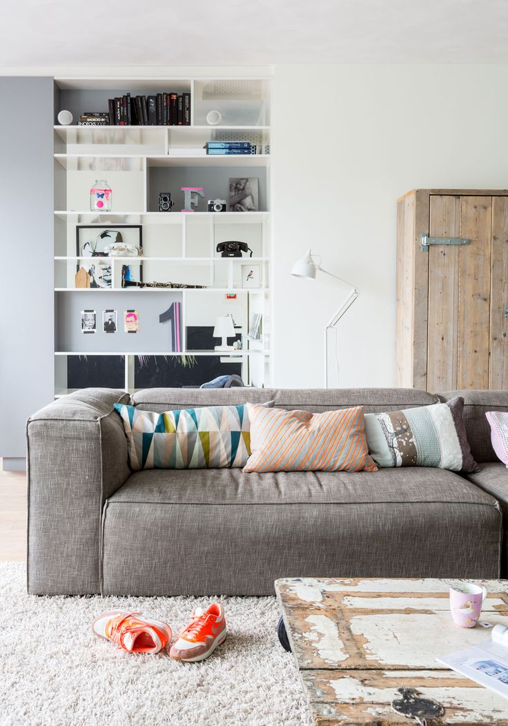 shelving, storage, couch, sofa, interior, home, living room, modern