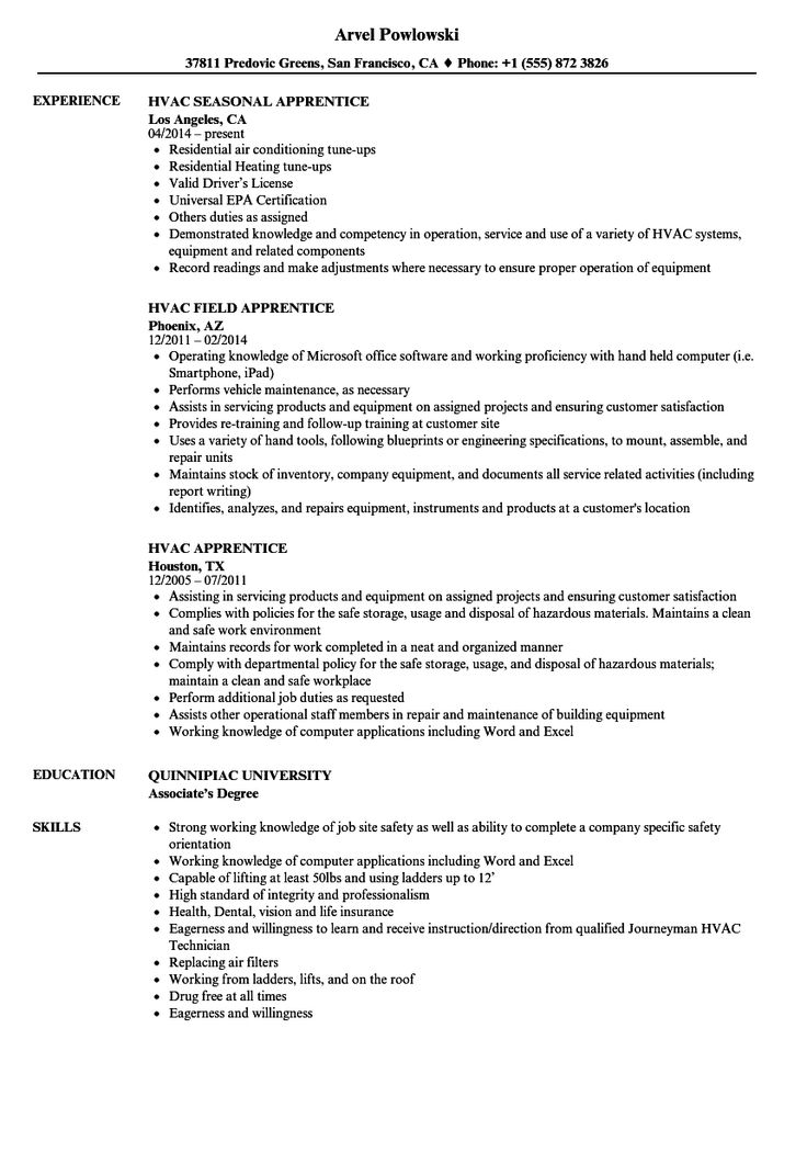 Hvac Resume templates, Hvac, Resume
