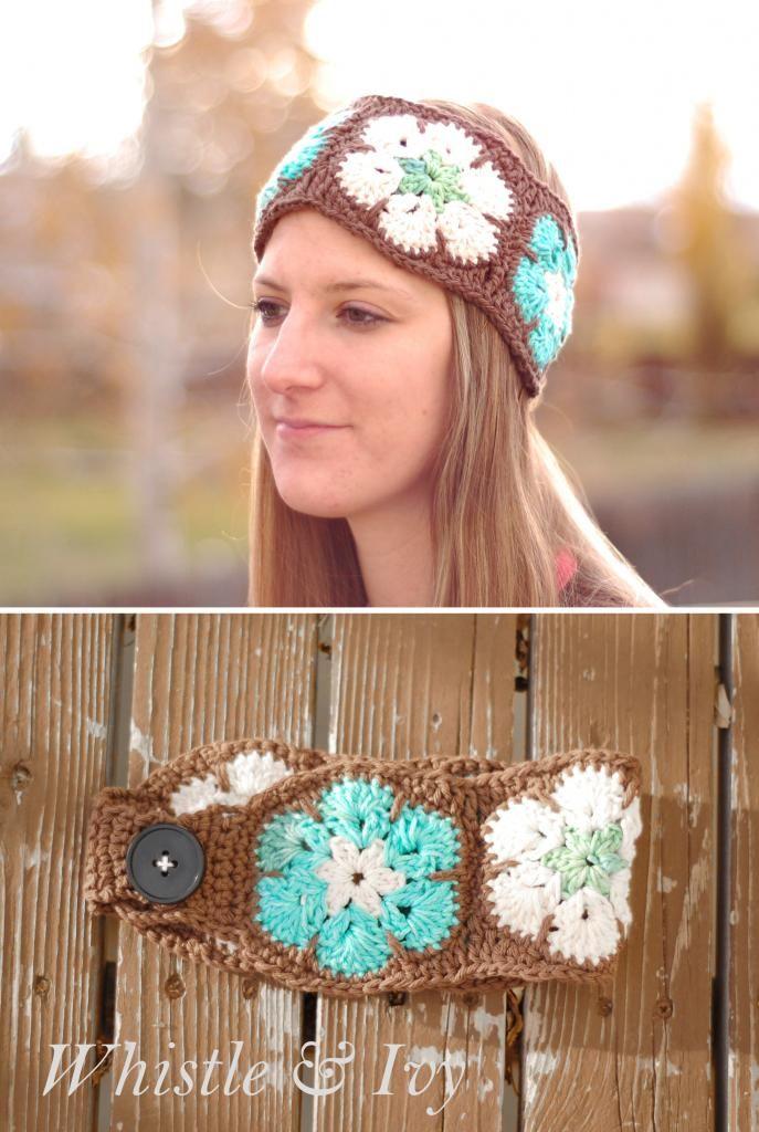 African Flower Headwarmer. Pattern here: http://www.whistleandivy.com/2013/11/african-flower-headwarmer.html. ☀CQ #crochet