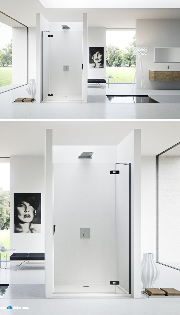 pura 5000 • this black and white bathroom finds its matching shower enclosure in an alcove. Contemporary design and black & white art are underlined by the elegant hinges: a luxuriously beautiful bathroom design.