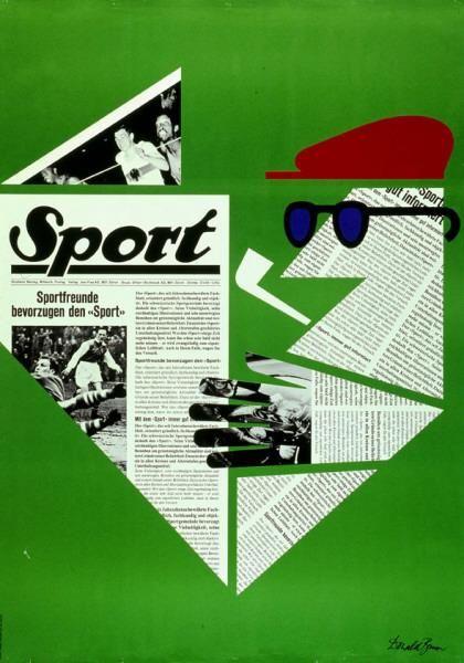 """Sport - Sportfreunde bevorzugen den """"Sport""""-Plakat / Gestaltung: Donald Brun 1966"""
