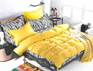 Set lenjerie de pat yellow animal print