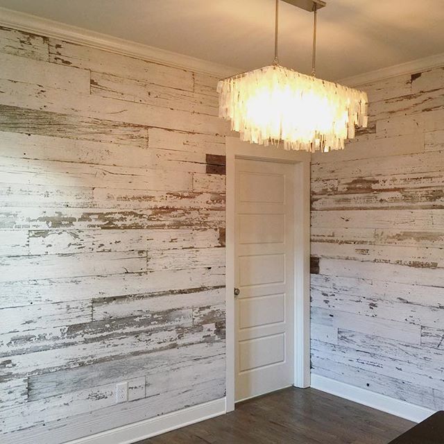 Here's a look at a recent white wall we created using our reclaimed white  barn wood skins. White barn wood walls look ...