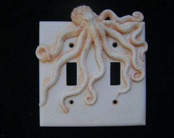 Green Steampunk Octopus Double Light Switch Cover Key Chain