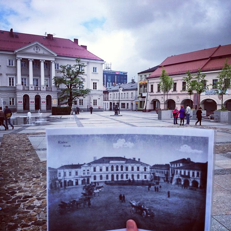 Main Square (Rynek) of Kielce. Old photo and present view :)