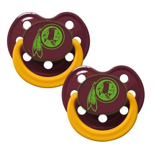NFL Baby Infant Pacifier Glow In The Dark 2-Pack (Washington Redskins)