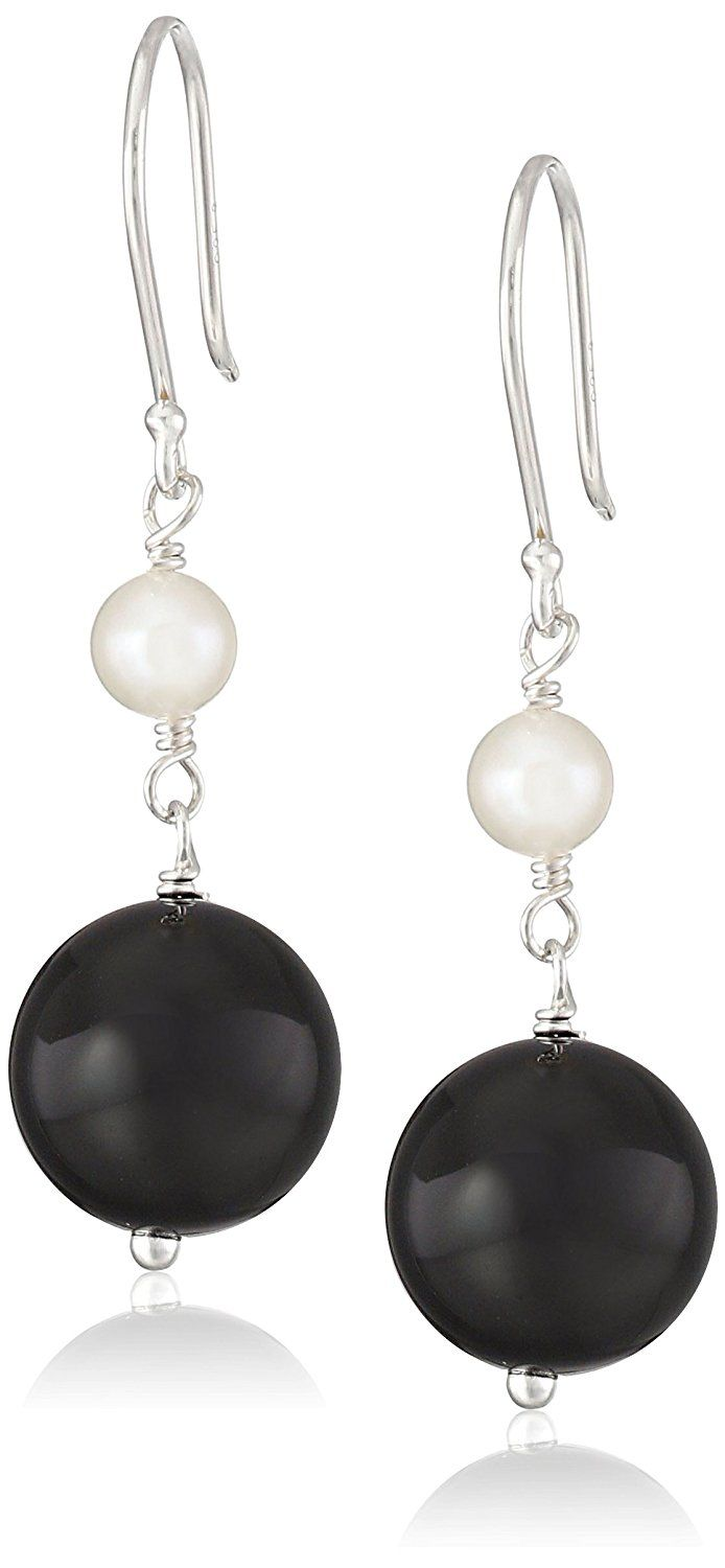Round Bead and White Potato Freshwater Cultured Pearl Accent on Sterling Silver Drop Earrings -- Details can be found by clicking on the image.