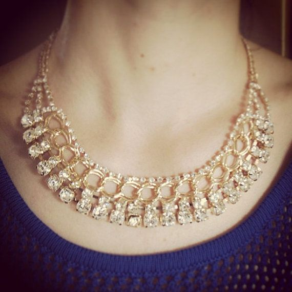 Gold chain with crystals necklace by deathdiscolovesyou on Etsy, $23.00