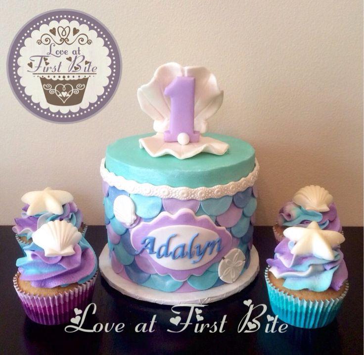 First Birthday Mermaid Cake and Cupcakes
