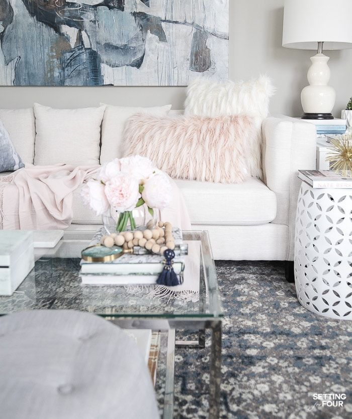Blush Pink And Blue House Tour Blue And Pink Living Room Living Room Interior Living Room Remodel