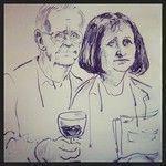 Nils Ole Oftebro står for illustrasjonene i Klaus Hagerup og Bibbi Børrensens nye bok Gylnde dager og dype viner. Dette portrettet av forfatterparet ble tegnet live under lanseringen av boken!